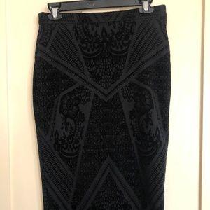 Bar III Black velvet midi skirt